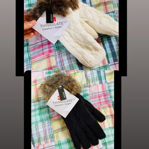 $10 item.Bundle two NWT black gloves & white mitts